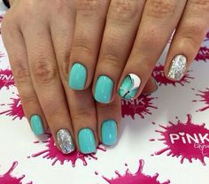 Butterfly nail art, Butterfly nails, Ideas ofturquoise nails, Light summer nails, Silver painted nails, Spring summer nails 2017, Summer nail art, Turquoise gel polish