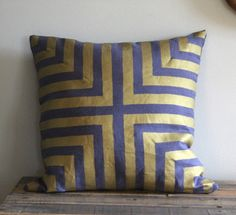 Doha Hand printed pillow cover in metallic gold on slate blue organic hemp Gold Pillows, Throw Pillows, African Interior, 20x20 Pillow Covers, Textiles, Soft Furnishings, Slipcovers, Interior Inspiration, Decorating Your Home