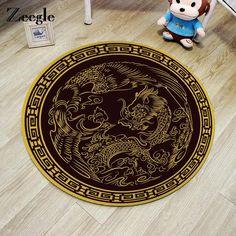 Zeegle Chinese Dragon Phoenix Printed Round Carpet For Living Room Non-slip Rug Kids Room Home Decor Mat Water Absorption Rug