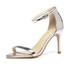 Sandalias de cuero sintético zapatos de los tacones de las mujeres del tacón  de aguja ed580aad1e1c