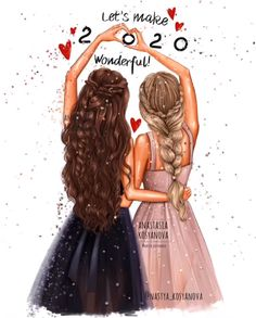 Happy New 2020 Year by Nastya Kosyanova Beautiful Girl Drawing, Cute Girl Drawing, Cartoon Girl Drawing, Girl Cartoon, Best Friends Cartoon, Friend Cartoon, Friends Sketch, Drawings Of Friends, Best Friend Sketches