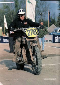 1964 picture of Steve McQueen riding his famous #278 Triumph during the International Six Days of Trial (ISDT)
