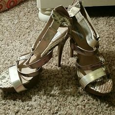 Reptile low steve madden heels Retire print colored gold strap high heels Steve Madden Shoes Heels