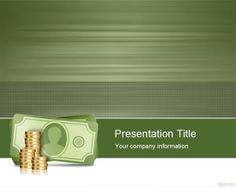 free green PPT template with money bill and coins design for banking, finance PowerPoint presentations