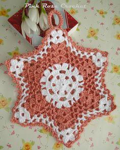 \ PINK ROSE CROCHET /: Pega Panelas Estrela Bicolor em Crochê