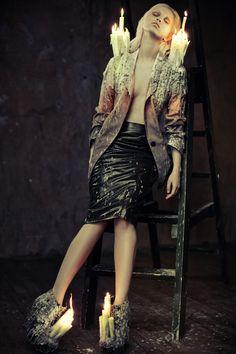 Photographer: Ekaterina Belinskaya Stylist/Designer: Alisa Gagarina Model: Elena Mitinskaya #fashion #editorial #candles