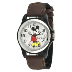 Disney Men's MCK617 Mickey Mouse Black and Brown Strap Moving Hands Watch Disney. $11.99. Disney mickey mouse on silver sunray dial. 3 hand Japanese-Quartz analogue. Sport case on black nylon strap with brown tabs. Easy read dial. Moving mickey hands