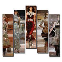 pintados à mão pintura a óleo de super modelo de pessoas com quadro esticado - conjunto de 5 – BRL R$ 489,66