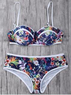Shop Flirt Lace up Floral Bowtie Bikini Set Swimsuits Free