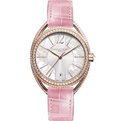 Chaumet Liens Lumiere watch for women in rose gold with diamonds and a baby pink alligator strap. Discover the top 5 watches for stylish women gift guide ideas for the fashion forward lady: http://www.thejewelleryeditor.com/watches/top-5/top-5-stylish-watches-women-christmas-gift-guide/ #luxury