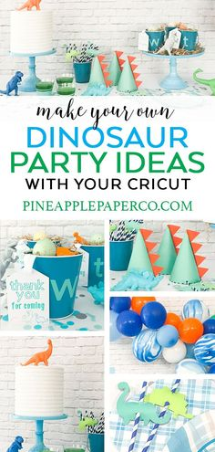 Dinosaur Party Ideas - Dinosaur Birthday Party - Pineapple Paper Co. - Dinosaur Party Ideas – Dinosaur Birthday Party – Pineapple Paper Co. DIY Dinosaur Party Ideas by Pineapple Paper Co. with Martha Stewart, Cricut, and Michaels Dinosaur Party Favors, Dinosaur Birthday Party, Birthday Diy, Boy Birthday Parties, Elmo Party, Mickey Party, Princess Birthday, Birthday Ideas, Diy Birthday Decorations