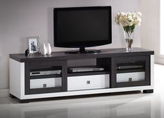 Baxton Studio Wholesale Interiors Oxley Two-Tone Entertainment TV Cabinet with Two Sliding Door and Three Drawers, White/Dark Brown Rack Tv, Cabinet Refacing, Cabinet Ideas, Cool Tv Stands, Entertainment Stand, Baxton Studio, Tv Cabinets, Kitchen Cabinets, Sliding Doors