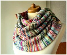 Resteschal :: scraps cowl? Love the occasional thick stripe im highly multicolored mix.