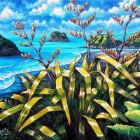 Celebrating New Zealand's coastline and iconic native plants Nz Art, Art For Art Sake, Foreground Middleground Background, Trees Drawing Tutorial, Thinking In Pictures, New Zealand Art, Maori Art, Kiwiana, Plant Pictures