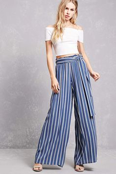 A pair of knit palazzo pants featuring an allover vertical stripe print, an elasticized ruffled waist, and an attached self-tie belt.<p>- This is an independent brand and not a Forever 21 branded item.</p>