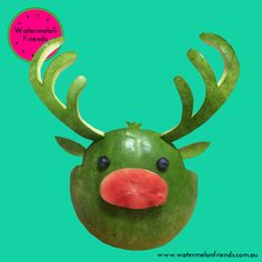 Custom carved watermelon reindeer for a Christmas party.   Enquiries: hello@watermelonfriends.com.au