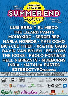 Nueva edición del Summer End festival (Simancas-Valladolid) 28 de Agosto