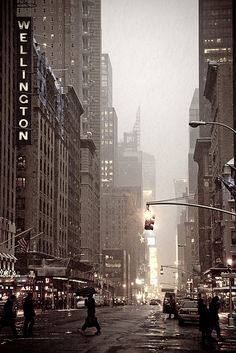 Upper 7th Avenue looking south, NYC (The Wellington Hotel is between 55th & 56th streets)