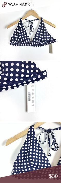 J.CREW navy polka dot bikini top XL NWT Navy polka dot triangle top. J. Crew Swim Bikinis