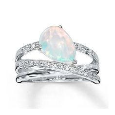 Kay Jewelers Lab-Created Opal Ring With Diamonds Sterling Silver- Opal