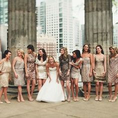 We love this idea of mix-and-matched neutral colored sequin bridesmaid dresses! Photo via Happy Wedd
