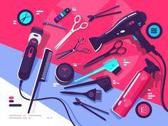Hairdressing tools, hairbrush and hair dryer, scissors and shaving machine. Vector illustrationn    Vector files, fully editable.