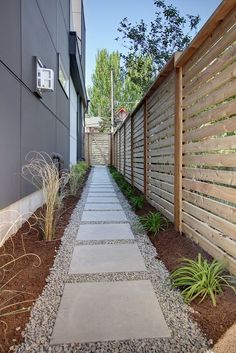 Contemporary Landscape/Yard with Emsco 24 in. High-Density Plastic Resin Extra-Large Paver Pad, Gate, Fence, Pathway - My Gardening Path Front Yard Walkway, Large Backyard Landscaping, Backyard Fences, Landscaping Ideas, Backyard Ideas, Backyard Privacy, Patio Ideas, Walkway Garden, Front Yards