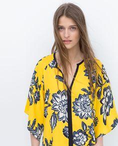 Image 2 of PRINTED KIMONO TOP from Zara