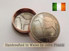 . Irish Racehorse Halfcrown Coin Snuff Box . Stash Pot . Various dates . Ireland
