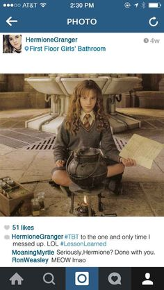 If Hermione Granger Had Instagram #TBT to that time I turned myself into a cat.