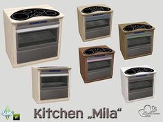 Part of the *Kitchen Mila* Found in TSR Category 'Sims 4 Large Appliances' Sims New, The Sims 4 Pc, Kitchen Appliance Storage, Kitchen Appliances, Sims 4 Cc Furniture, Kitchen Furniture, Sims 4 Anime, Sims 4 Kitchen, Sims 4 House Design