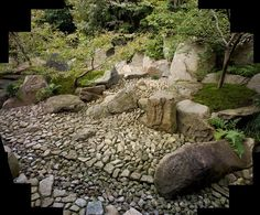Another meditation garden by Masuno fills the space at the rear of Rensho-ji temple, near Yokohama, and is called Fusho-tei, or Spiritual Beacon. The theme is that there is always a constant, even during times of rapid change. The flow of rocks debouches at the feet of the viewer seated in the open-sided hall from its hidden source higher up the slope among the trees. ©Michael Freeman