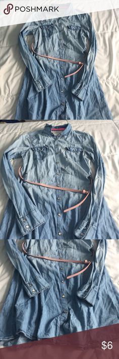 Denim Dress brand new denim dress, never worn. in perfect condition, no stains or tares. the belt can stay on and come off Dresses Long Sleeve