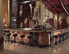 The Edison - Los Angeles - steampunk bar/lounge set in one of Edison's original factories. Often they have live dance performances. You have to dress up. Industrial Restaurant, Cafe Restaurant, Restaurant Design, Brewery Design, Steampunk Bar, Steampunk Interior, Steampunk Furniture, Industrial Bedroom, Industrial House