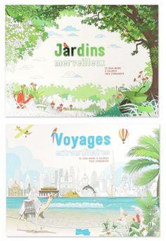 Livres de coloriage - Ludique et pratique, voici deux grands blocs de 56 pages détachables pour rester organisé et détendu grâce au coloriage ! De très belles illustrations de paysages, d'arbres, de fleurs… de villes européennes, de monuments, de paysages, de motifs... A partir de 8,95€ >>> http://www.perlesandco.com/Jardins_merveilleux___55_sous_mains-p-76867.html >>> http://www.perlesandco.com/Voyages_extraordinaires___55_sous_mains-p-76874.html