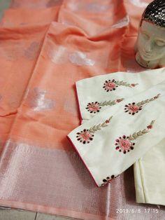 kota saree with blouse buy at whatsapp 8897195985 Wedding Saree Blouse Designs, Pattu Saree Blouse Designs, Blouse Designs Silk, Blouse Patterns, Kids Blouse Designs, Simple Blouse Designs, Stylish Blouse Design, Saree Embroidery Design, Mirror Work Blouse Design