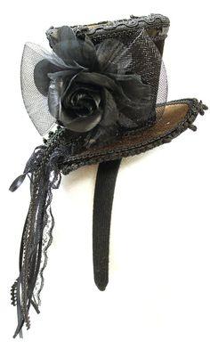 Amazon.com: Ladies Brown Velvet Ornate Steampunk Mini Top Hat Headband: Clothing