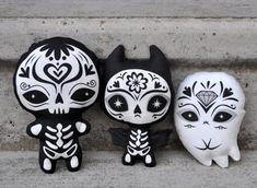 Sugar Skull Toy - Day of the Dead toy - Dia de los Muertos plush - Sugar Skull Bat. $12.00, via Etsy.