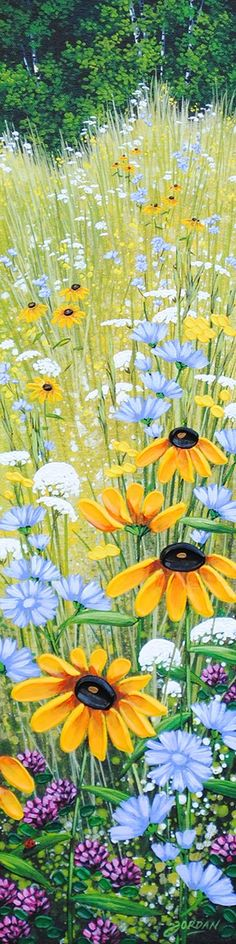 Wildflowers in the meadow with trees. Such a pretty long pin, by Artist: Jordan Hicks. Please also visit www.JustForYouPropheticArt.com for more colorful art. Thank you so much!
