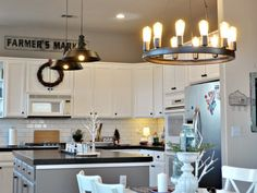 Amazing Gray in a kitchen. From The Domestic Heart. Worldly Gray, Amazing Grays, Warm Grey, House Colors, Color Pop, Kitchen, Table, Furniture, Google Search
