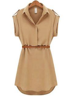 Women's Lapel Chiffon Cap Stretch Sleeve Shirt Mini Belted Dress