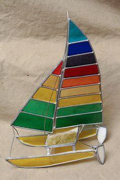 Vintage Contemporary Stain Glass Sailboat Catamaran Free Standing Nautical