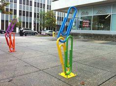 Paper clip bicycle rack in Washington, DC. Photo by Wayan Vota. http://www.flickr.com/photos/dcmetroblogger/