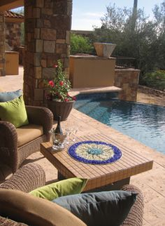Oriflamme Fire Table - I'd love to be sitting at this pool!