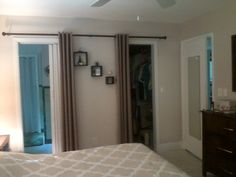 This is a picture of the door openings with drapes open. I can move the drapes to either side if the doorways for an alternative look. See the other pin for the closed look Door Alternatives, Doorway, Home Improvement, Farmhouse, Mirror, Furniture, Home Decor, Entrance, Entryway