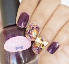 Purple Flower nailart #floral #reverse #stamping #nailcharm