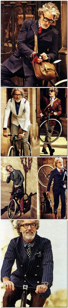 The Biking View–Photographer Sergi Pons (Motif Management) and stylist Miguel Arnau (Motif Management) reunite with Success model Aiden Shaw for another El Pais story. Biking around cobble streets, Aiden is business smart, clad in light suiting separates from Valentino, Tommy Hilfiger and Giorgio Armani, amongst other labels.