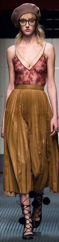 Pleated and lingerie: Gucci Fall 2015