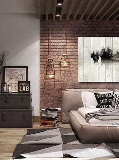 99 Cozy Loft Home Decor Ideas Thath Everyone Should Have – Loft living has become the trendy new way of living for the yuppies living in urban areas who w Men's Bedroom Design, Industrial Bedroom Design, Bedroom Decor, Bedroom Loft, Casa Loft, Loft House, Stone Interior, Modern Interior Design, Home Decor Styles