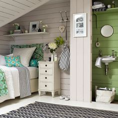 Serene #green girl's bedroom | Girls' bedrooms | Children's room | PHOTO GALLERY | Homes & Gardens | Housetohome.co.uk